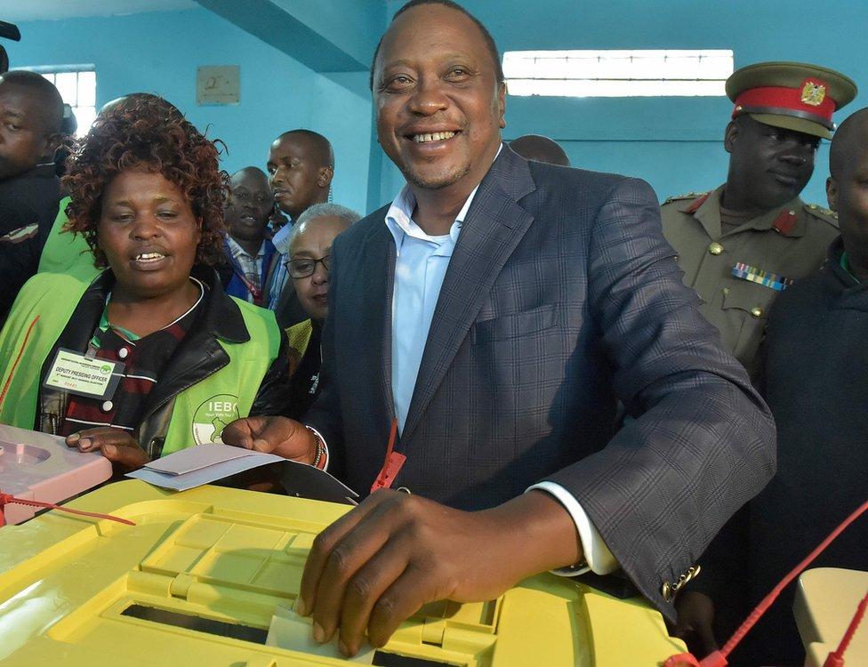 President Uhuru Kenyatta votes in Katundu