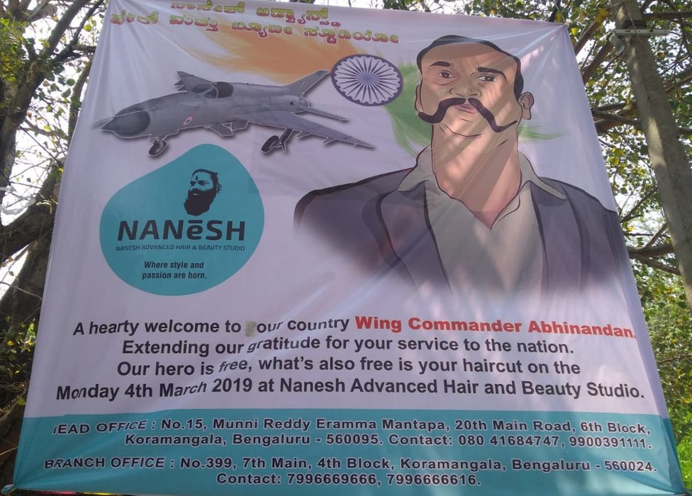 An advertisement by the hair salon offering free haircuts fro those who wanted to resemble Wing Cdr Abhinandan.