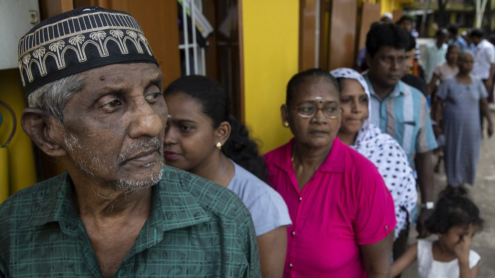 People queuing to vote in Colombo on Saturday 15 November