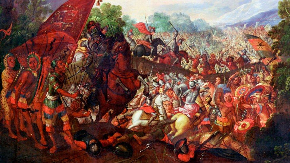 Gambar Hernando Cortes mundur dari Tenochtitlan, Meksiko tahun 1520.