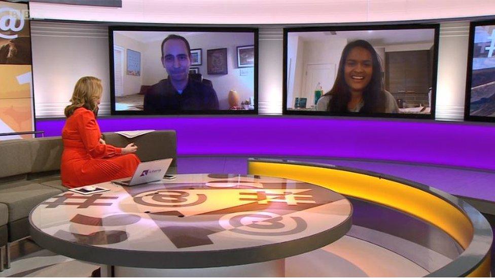 Lee Loechler y Sthuthi David en el programa de Victoria Derbyshire de la BBC.