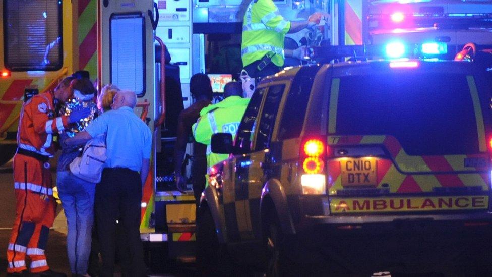 Ambulances and police at London Bridge