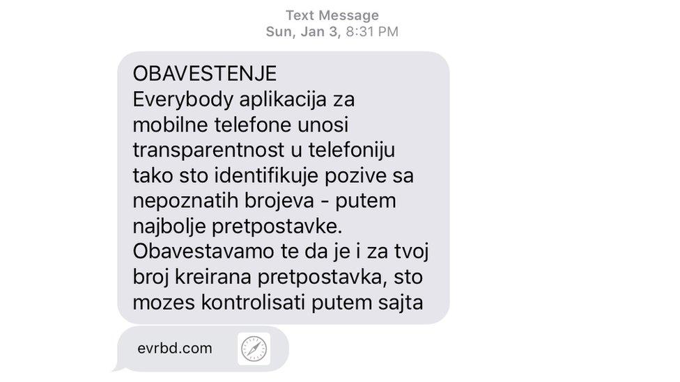 Poruka od aplikacije