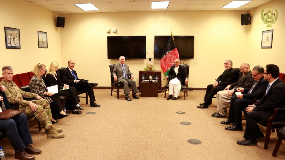 A photo of the meeting released by the Afghan president's office