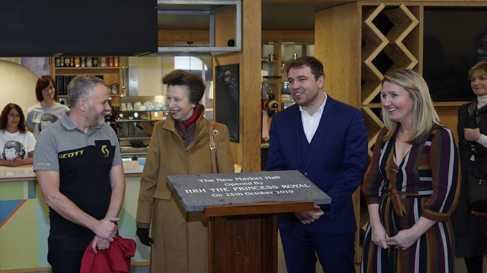 The Princess Royal unveiling a plaque at the Market Hall in Douglas