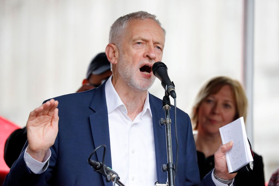 Jeremy Corbyn at a rally against the state visit of President Trump
