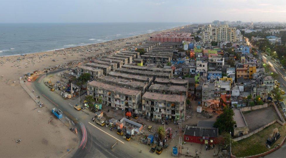 An aerial view of the beach in Chennai, Tamil Nadu.