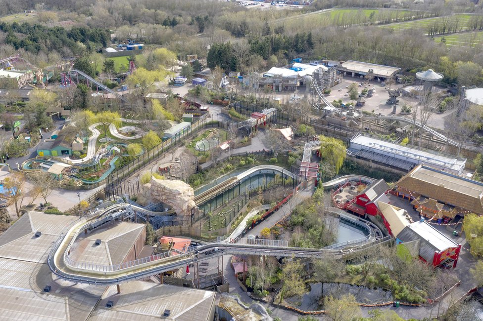 An aerial view of Chessington World of Adventures theme park, showing no customers