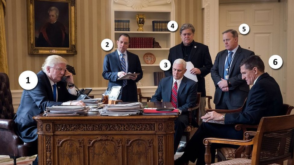 An annotated image from inside the oval office numbering members of trump administration from 1-6