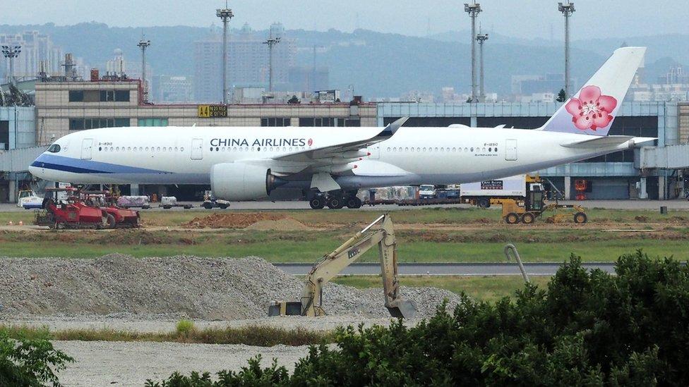 台灣桃園機場停機坪上的一架華航空中客車A350客機(26/5/2018)