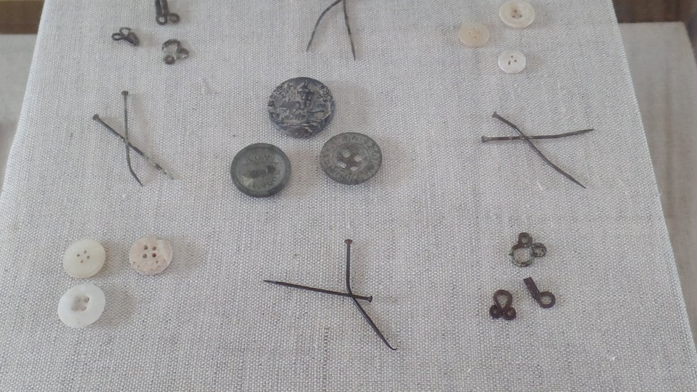 Many sewing items - including needles, hooks and eyes, and buttons made of bone, metal and shells - have been recovered over the years.