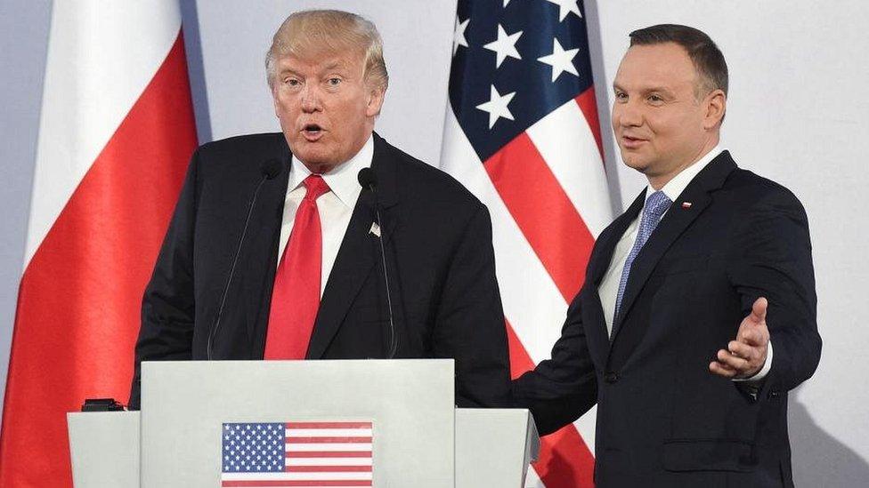 अमरीकी राष्ट्रपति, डोनल्ड ट्रंप, पोलैंड के राष्ट्रपति, आंद्रेज़ डूडा