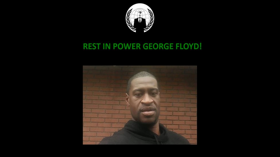 "A black page shows the anonymous logo, a photo of George Floyd, and the message ""rest in power""."