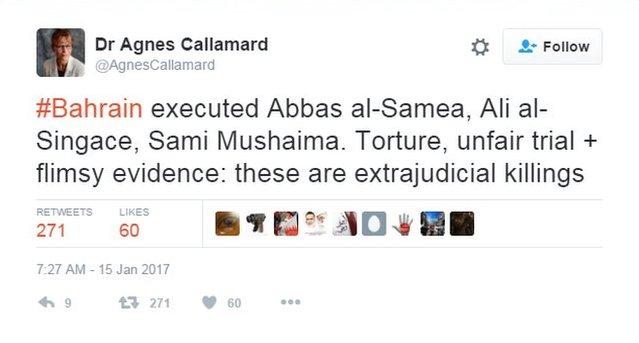 Tweet from Agnes Callamard