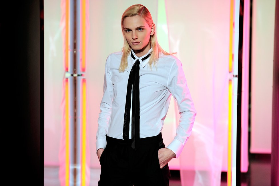 Model Andreja Pejic poses during the Jean Paul Gaultier Menswear Autumn / Winter 2013/14 show as part of Paris Fashion Week on January 17, 2013 in Paris, France