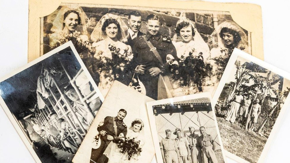 Family photos of wedding and war of owner's grandfather