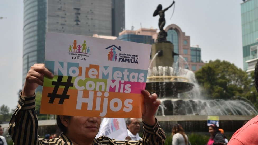"""""""Don't mess with my children,"""" reads the banner held by a protester in Mexico City"""