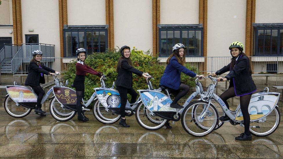 Pupils on bikes