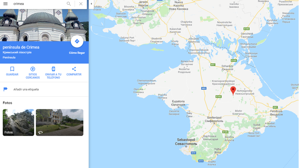 Crimea en Google Maps