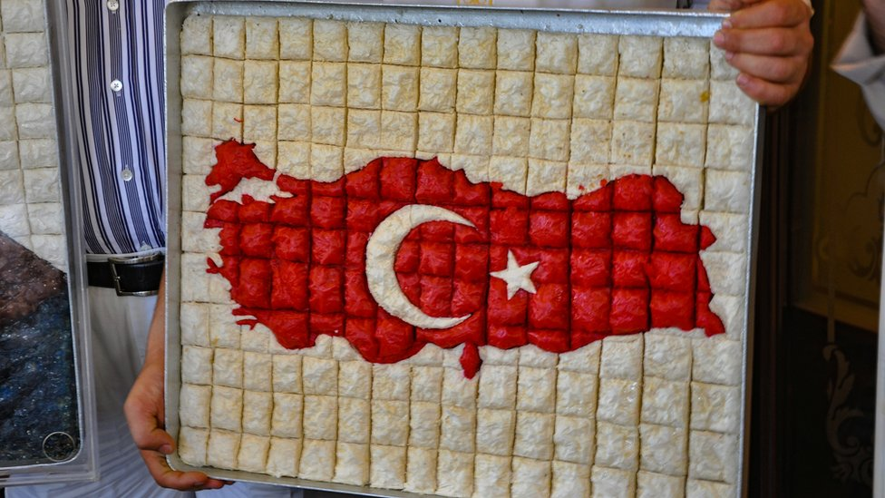 A map of Turkey made of baklavas