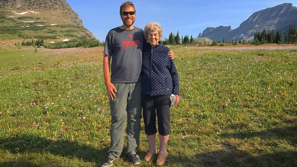 Grandma Joy and Brad at Glacier National Park in Montana