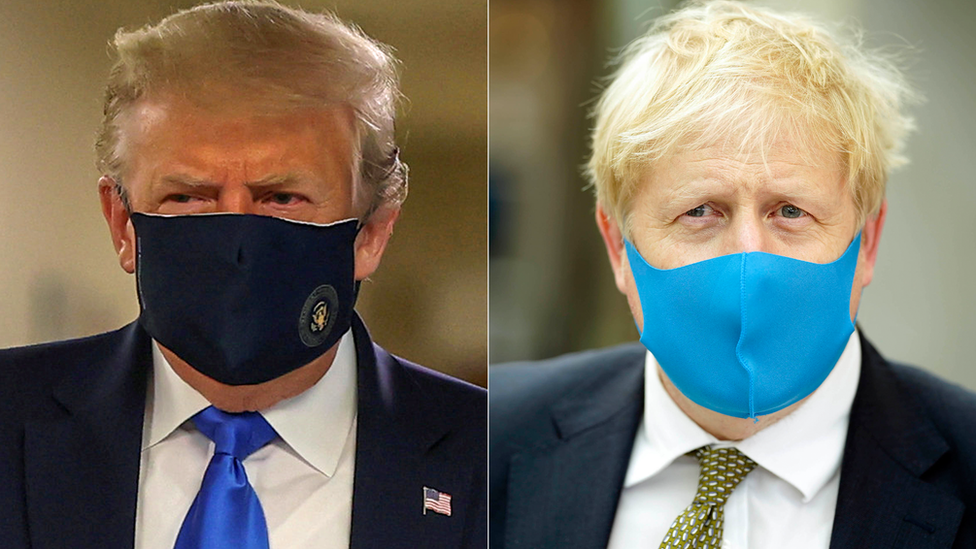 在數月的辯論後,美國總統和英國首相戴口罩亮相。