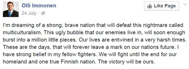 Facebook post by Finnish MP Olli Immonen - 24 July 2015