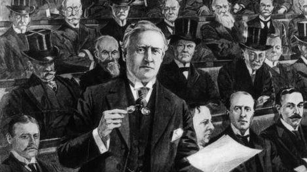 Drawing of British PM Herbert Asquith delivering a speech in the Commons in 1908
