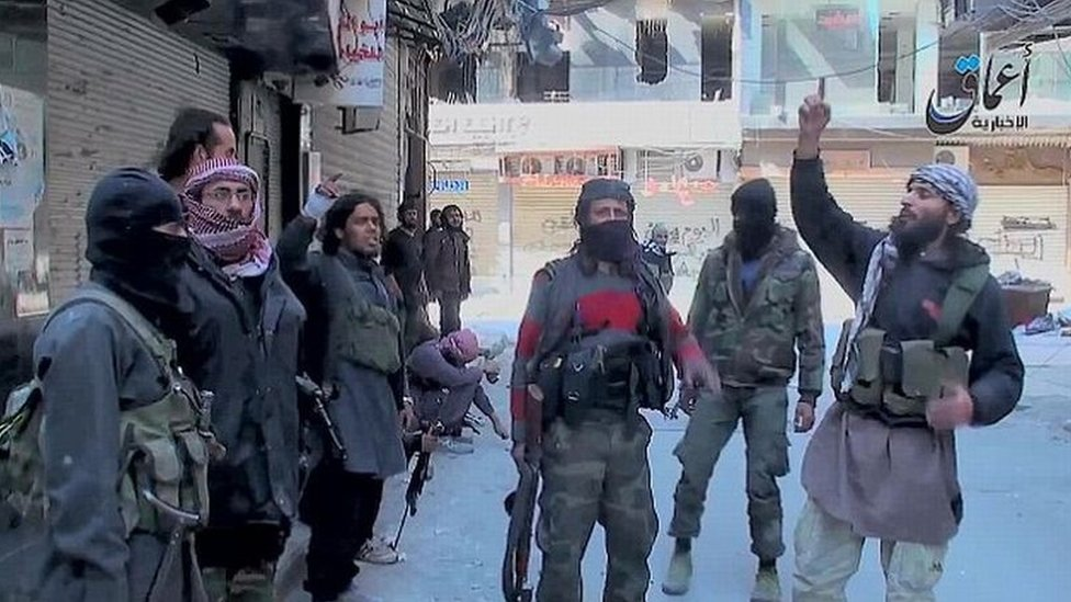 Video released by pro-Islamic State news agency purportedly showing militants in Yarmouk in April 2015