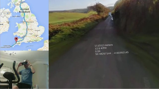 A composite graphic of a man cycling on an exercise bike, a map of the UK and Google Street View