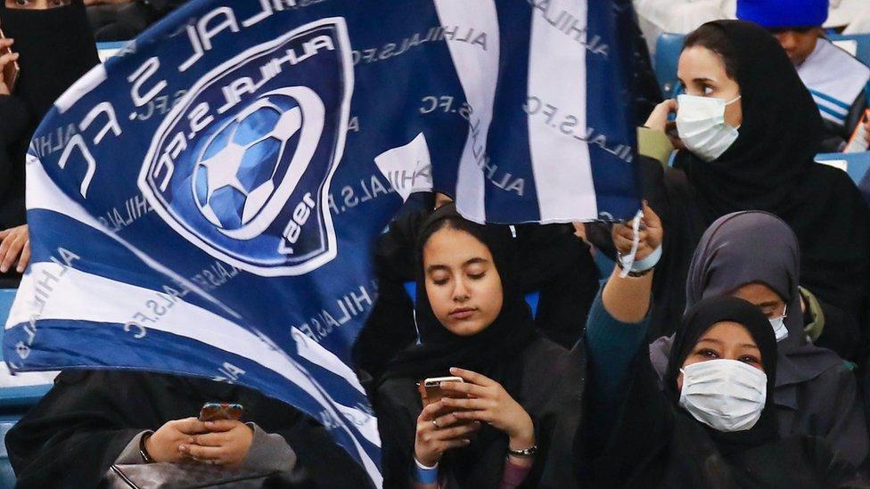 Saudi women at a football match