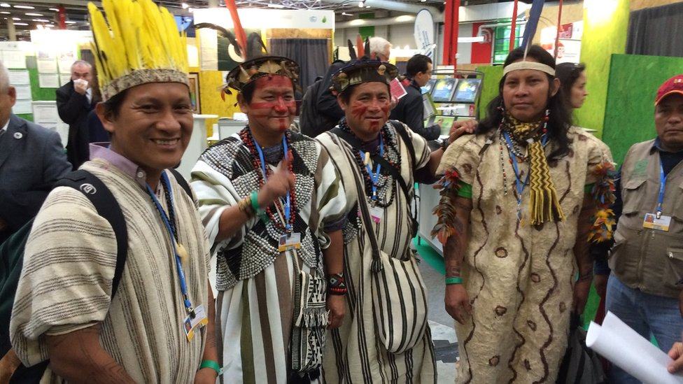 Indigenous leaders at the forest meeting in Paris