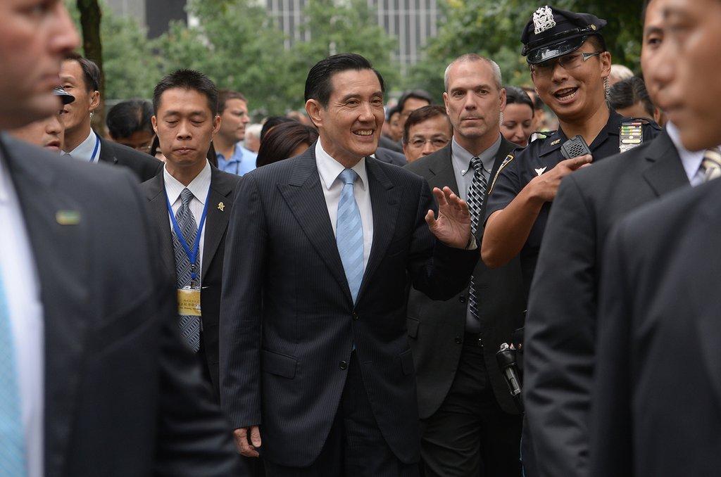 2013年8月12日,馬英九過境美國,參觀紐約9.11遺址。