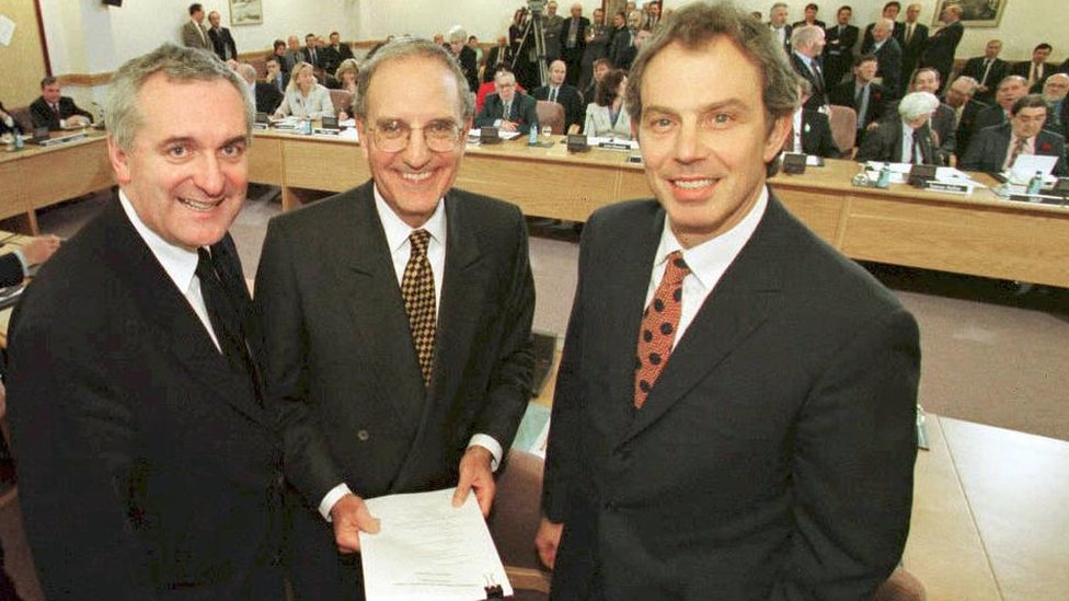 Blair and Ahern with Good Friday Agreement