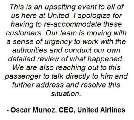 United Airlines CEO apology on its Facebook page