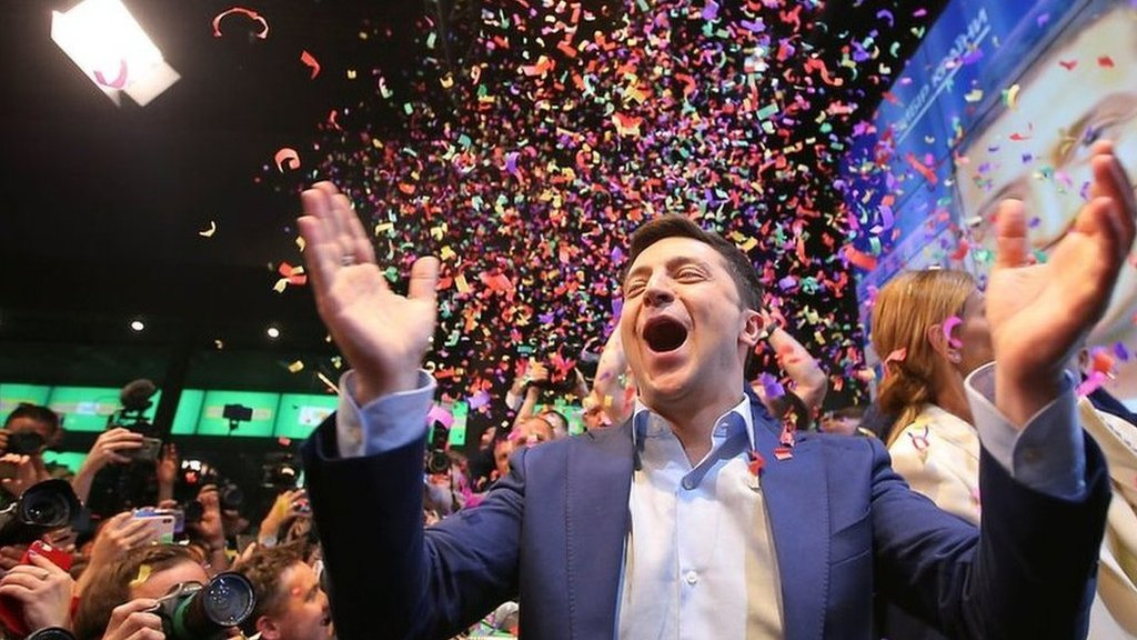 Comedian celebrates Ukraine election win