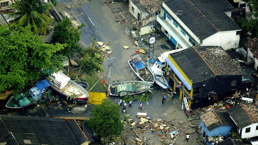 Boats on the street in Sri Lanka after the tsunami