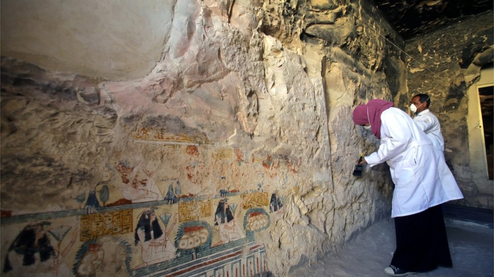Sarcophagi and mummies discovered at Luxor site
