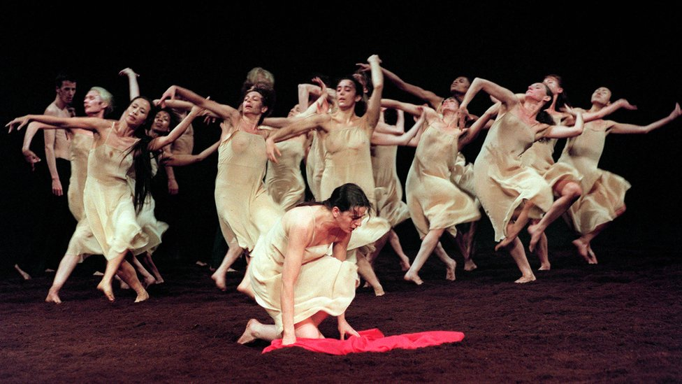 Dancers from German choreographer Pina Bausch's company performing The Rite of Spring in 1995 in France