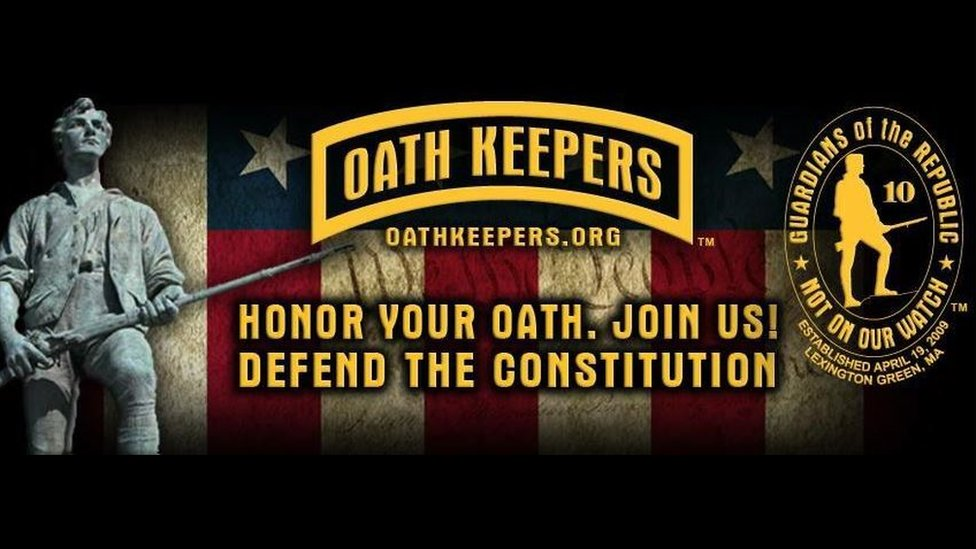 """Screen grab of Oath Keepers ad with motto reading: """"Guardians of the Republic - not on our watch"""""""
