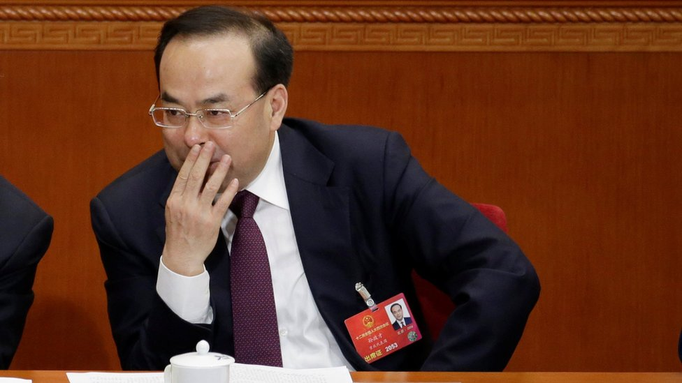 Chongqing Municipality Communist Party Secretary Sun Zhengcai attends the opening session of China's National People's Congress (NPC) at the Great Hall of the People in Beijing, China 5 March 2016