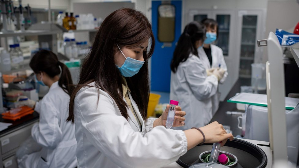 Scientists in lab in Beijing working on coronavirus vaccine