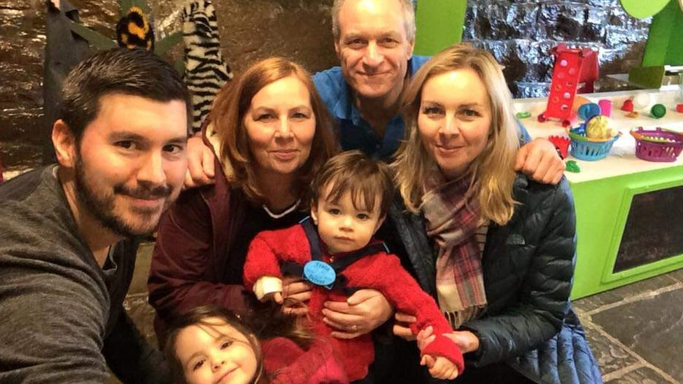 Karen with her husband, daughter Victoria and her husband Phil and their two children Sophia and Alexander.