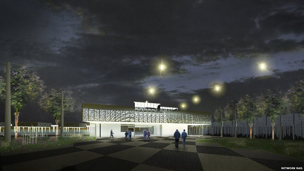 Artist's impression of railway station at Chesterton Sidings