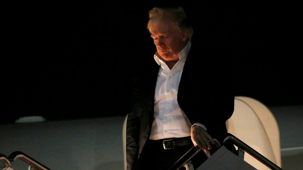 U.S. President Donald Trump returns from a weekend at his New Jersey golf estate home via Air Force One at Joint Base Andrews, Maryland, U.S. May 7, 2017