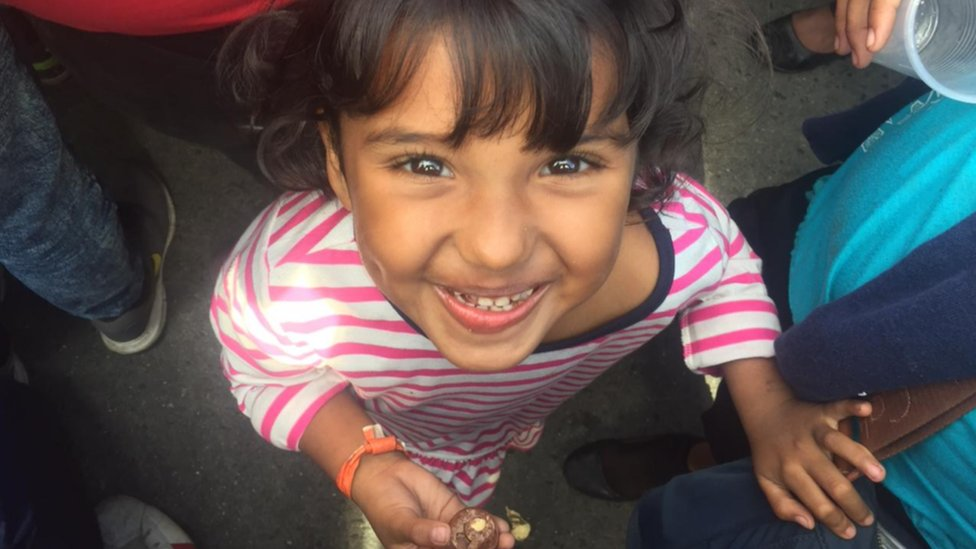 Una niña migrante en Tijuana.