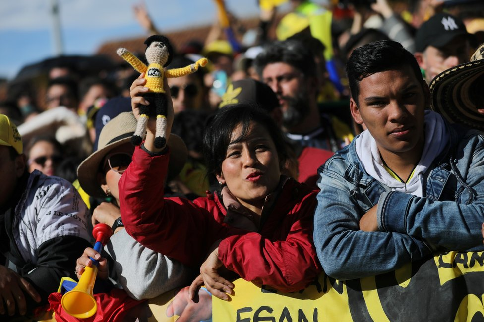 Crowds line the streets of Zipaquira to catch a glimpse of Egan Bernal