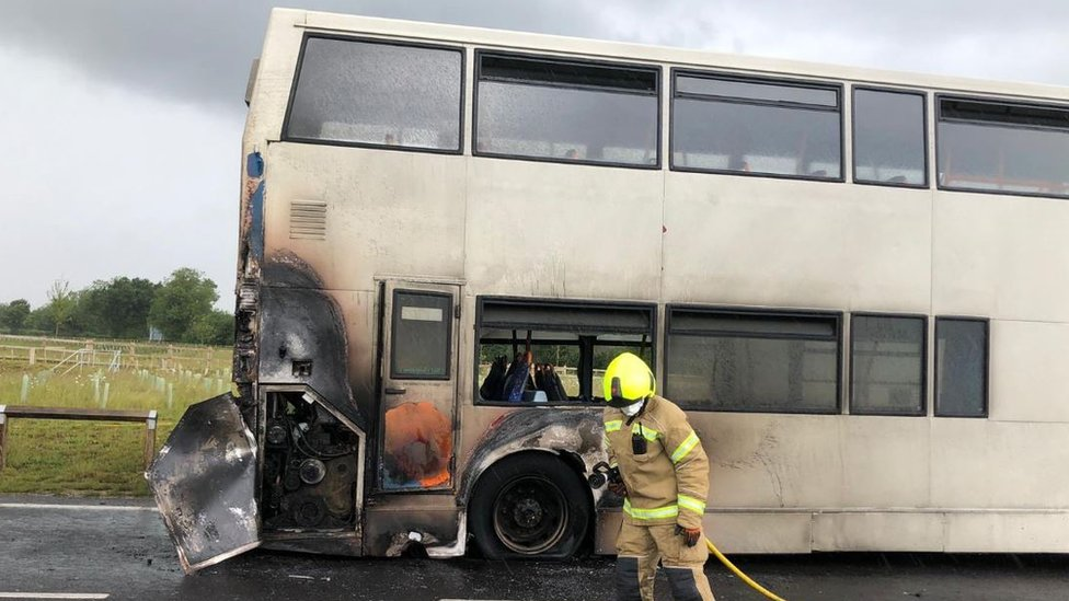School bus catches fire in Bury St Edmunds