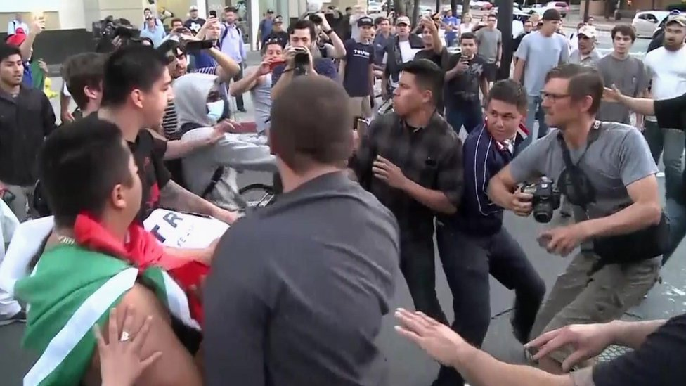 Clashes outside a Trump rally in San Jose