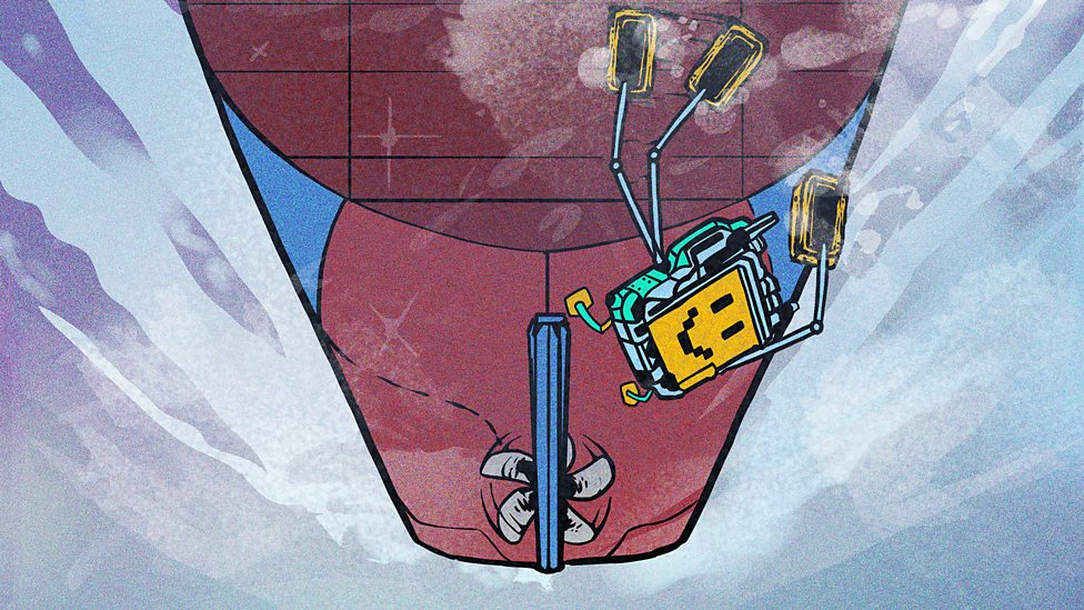 A robot cleaning the bottom of a cargo ship